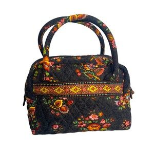 Vera Bradley floral bag brown and yellow pockets